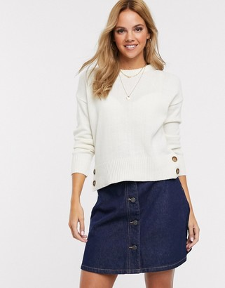 Brave Soul crew neck jumper with button detail in cream