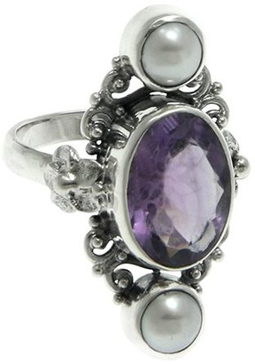 Novica Artisan Crafted Sterling Amethyst & Pearl Ring