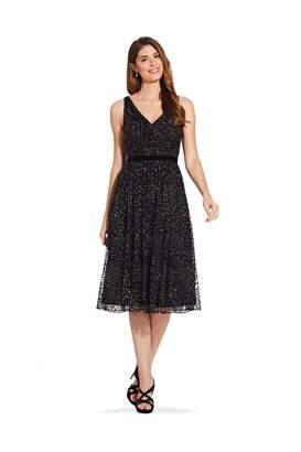 Adrianna Papell Glitter Velvet Midi Dress