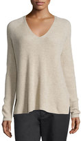 Vince Ribbed Wool/Cashmere-Blend V-Neck Sweater, Light Heather Marzipan