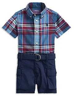 Ralph Lauren Polo Boys' Madras Shirt, Cargo Shorts & Belt Set - Baby