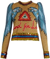 Gucci Parrot-intarsia sequin-embellished sweater
