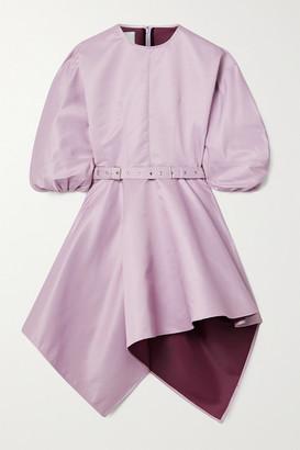 Marques Almeida Asymmetric Belted Faille Mini Dress - Lavender