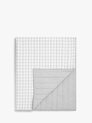 little home at John Lewis Gingham Quilted Bedspread, Grey