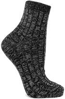 Maria La Rosa Metallic Ribbed Wool-blend Socks - Black