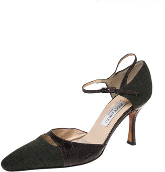 Jimmy Choo Brown/Grey Wool And Croc Leather Ankle Strap Pumps Size 40