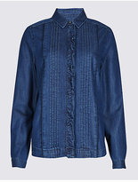 M&S Collection PETITE Denim Ruffle Long Sleeve Shirt