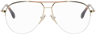 Victoria Beckham Gold Color Bridge Aviator Glasses
