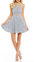 B. Darlin Sequin Lace Beaded Infinity Waist Fit-And-Flare Dress