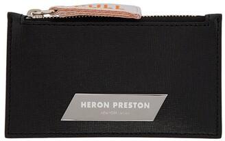 Heron Preston silver plaque zip card holder black
