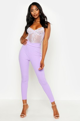 boohoo Basic High Waist Crepe Skinny Stretch Pants