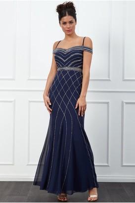 Goddiva Off the Shoulder Embroidered Sequin Maxi Dress - Navy