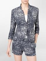 Bleach Spot Print Linen Blazer
