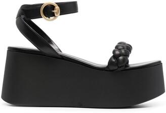 Gianvito Rossi Braided Platform Leather Sandals