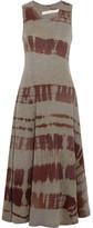 Raquel Allegra Big Sweep Printed Cotton-blend Jersey Midi Dress - Gray