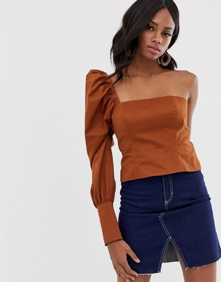 Asos DESIGN one shoulder structured top in cotton