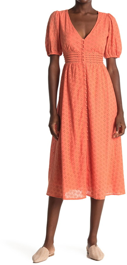ALL IN FAVOR Embroidered Eyelet Button Front Midi Dress