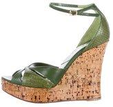 Christian Dior Python-Trimmed Platform Wedges