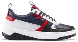 HUGO Low-top trainers in colour-block nappa leather