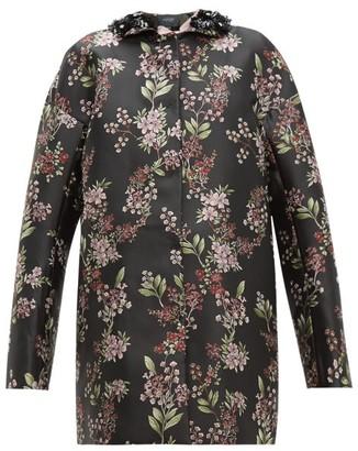 Giambattista Valli Beaded Single-breasted Floral Jacquard Coat - Womens - Black Multi