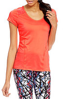Calvin Klein Seamed Airflow Knit Jersey With Power Mesh Insets Tee