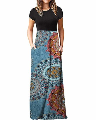 KIDSFORM Women Maxi Dress Long Sleeve Floral Baggy Ball Gown Solid Pocket Party Long Dresses Kaftan D-Floral S
