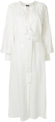 Wandering Eyelet-Embellished Maxi Shirt Dress