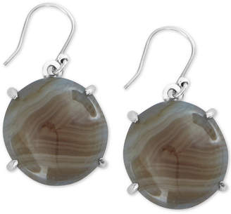 Lucky Brand Silver-Tone Brown Lace Agate Round Drop Earrings