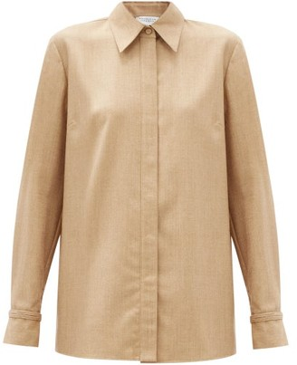 Gabriela Hearst Cruz Point-collar Wool-blend Shirt - Camel