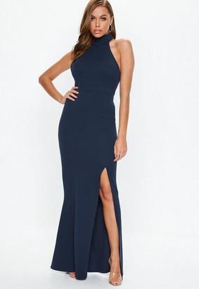 Missguided Navy Choker Maxi Dress