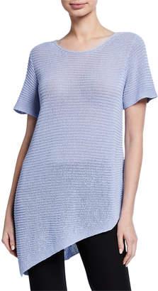 Eileen Fisher Organic Linen/Cotton Short-Sleeve Asymmetric Tunic Sweater