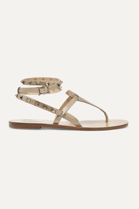 Valentino Garavani The Rockstud Metallic Textured-leather Sandals - Gold