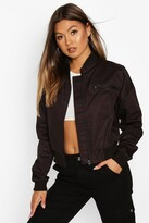 Thumbnail for your product : boohoo Woven Zip Detail Bomber