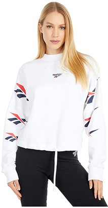 Reebok Vector Repeat Crew Sweatshirt (White) Women's Clothing