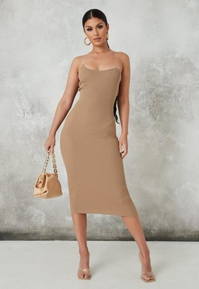 Missguided Brown Transparent Strap Knit Midaxi Dress