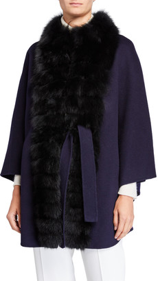 Belle Fare Wool-Blend Fox Fur-Trim Cape Coat