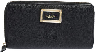 Valentino Black Leather Zip Around Continental Wallet