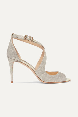 Jimmy Choo Emily 85 Glittered Leather Sandals - Silver