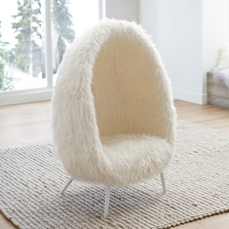 Pottery Barn Teen Ivory Furlicious Faux-Fur Cave Chair