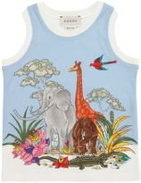 Gucci Animals Printed Cotton Jersey Tank Top