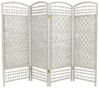 Oriental Furniture 4' Tall Fiber Weave Room Divider, White, 4 Panels