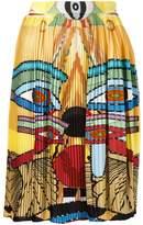 Givenchy Egyptian print pleated skirt