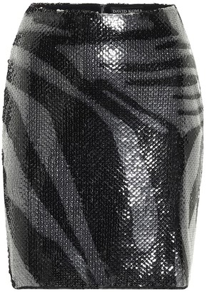 David Koma Sequined zebra-print miniskirt