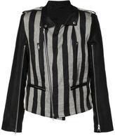 Ann Demeulemeester striped biker jacket - men - Linen/Flax/Polyester/Rayon - S