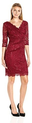 Sangria Women's 3/4 Sleeve Sequined Lace Sheath