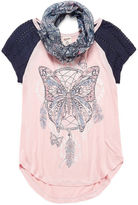 Arizona Az Ss Raglan Top W/ Scarf - Girls'7-16 & Plus