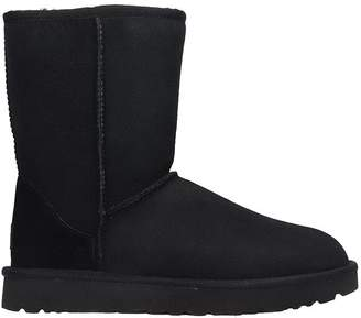 UGG Classic Short Low Heels Ankle Boots In Black Suede