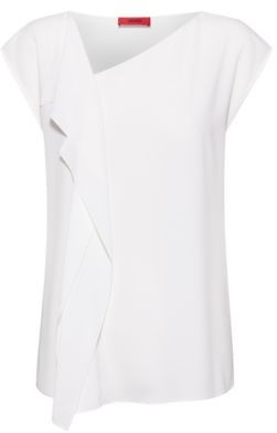 HUGO Relaxed-fit top in crinkle crepe with draped detail