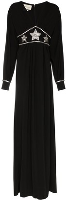 Gucci black star embellished maxi dress