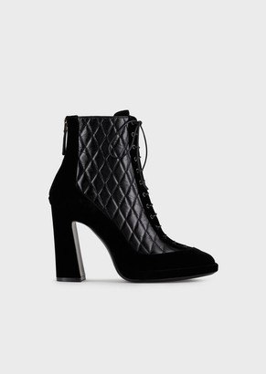 Emporio Armani Velvet And Matelasse Leather High-Heeled Ankle Boots